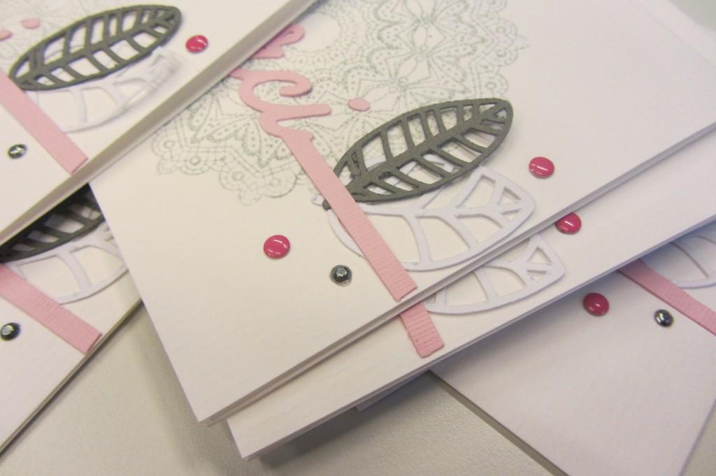 Carte remerciements rose et grise by Riveli