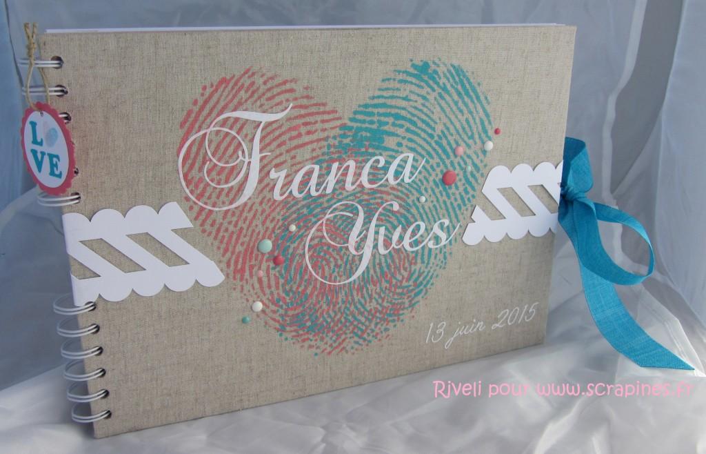 Livre d'or mariage empreintes Riveli pour www.scrapines.fr
