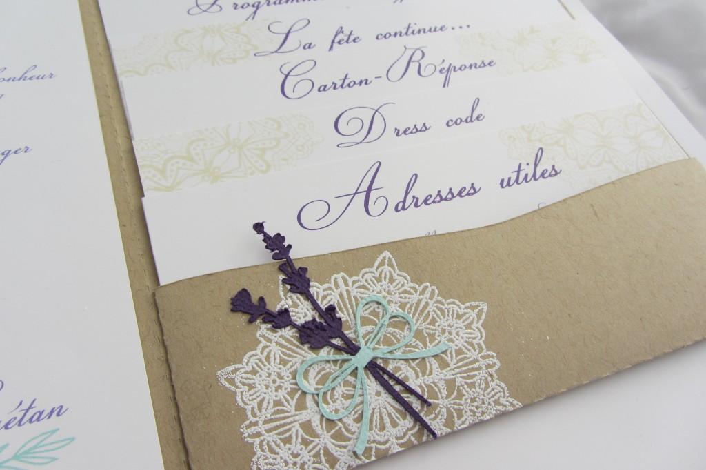 Faire-part mariage provençal par Riveli www.scrapines.fr