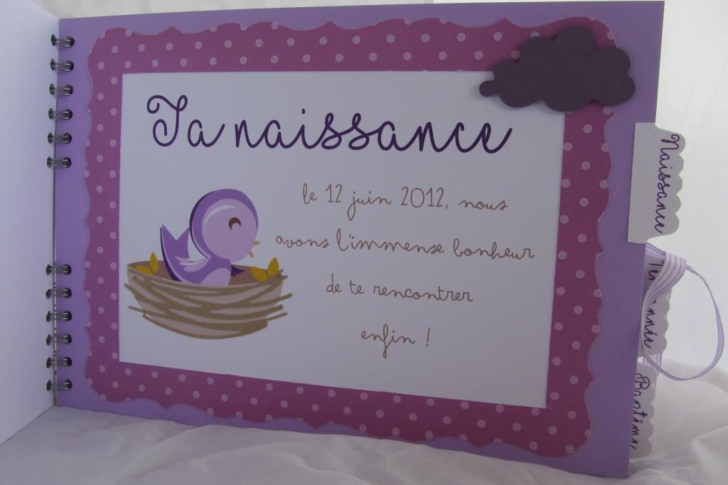 Riveli pour www.scrapines.fr Livre naissance baptême oiseaux mauve