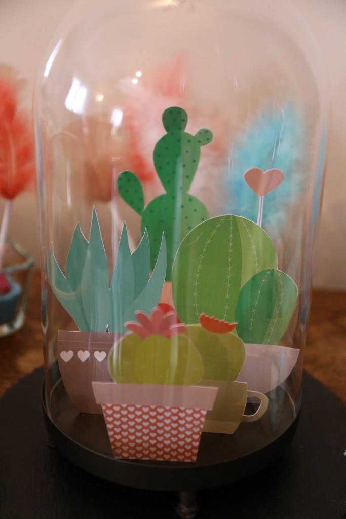 Cactus papier sous cloche par Riveli www.scrapines.fr
